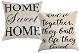 Foozoup Farmhouse Style Decorative Throw Pillow Case Cushion Cover 18'' x 18'' for Sofa Couch Home Sweet Home Cotton Linen and So Together They Built a Life They Loved
