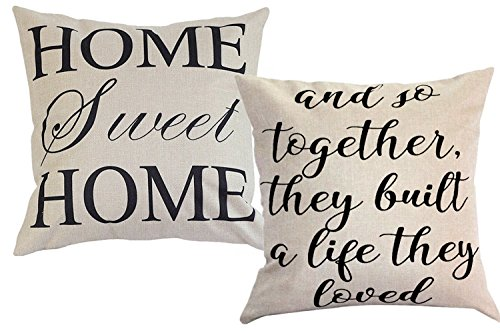 FOOZOUP Farmhouse Style Decorative Throw Pillow Case Cushion Cover 18quot x 18quot for Sofa Couch Home Sweet Home Cotton Linen and So Together They Built a Life They Loved