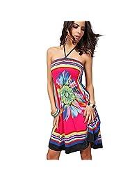 Katuo Floral Women's Knee Length Dress Beach Summer Dress Plus Size
