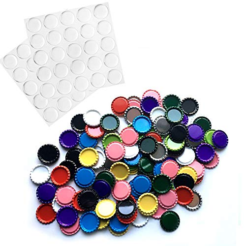 Haworths 50 Flat Decorative Bottle Cap Mixed Colors(10colors) with 50 Pieces Clear Epoxy Dot Stickers for Hair Bows, DIY Pendants Or Craft ScraPbooks