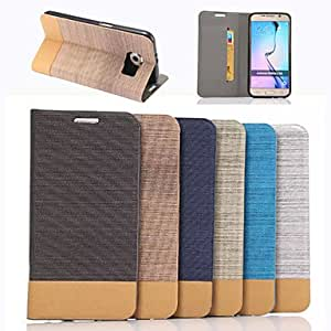HJZ Coloured Denim PU Leather Case with Stand for Samsung Galaxy S6 (Assorted Color) , Orange