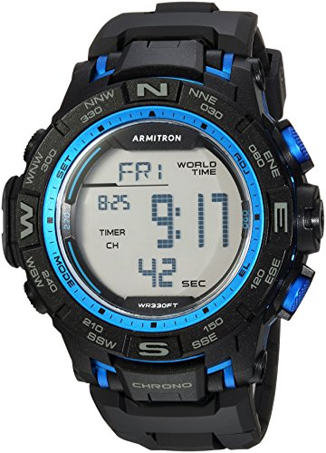 Armitron Sport Men's 40/8410BBK Blue Accented Digital Chronograph Black Resin Strap Watch