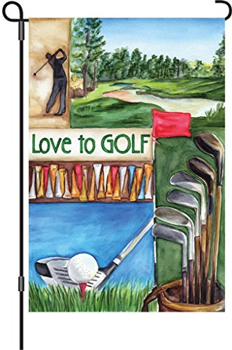 den Flags, Love Golf, 12 by 18-Inch (Golf Garden Flag)