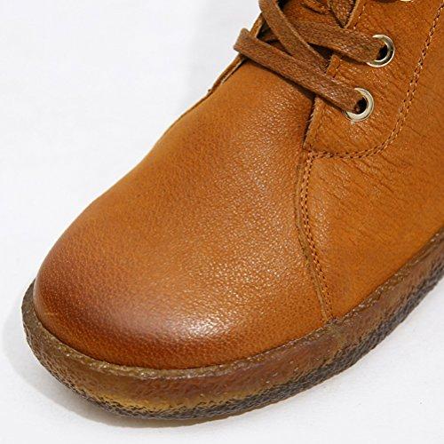 Schnüren Damen Asian39 Vintage Lederstiefel MatchLife Stiefel Handgefertigte EU38 Kamel Flach FxwT4