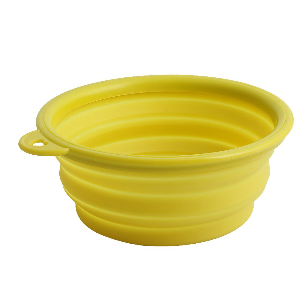 Tangc 1Pc Portable Collapsible Folding Travel Pet Feeding Bowl Dog Cat Water Dish Feeder (yellow)