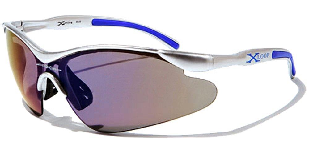 X-Loop Sonnenbrillen - Sport - Radfahren - Skifahren - Laufen - Driving - Motorradfahrer / Mod. 3529 Lichtgrau Blau Spektrum / One Size Adult / 100% UV400 Schutz