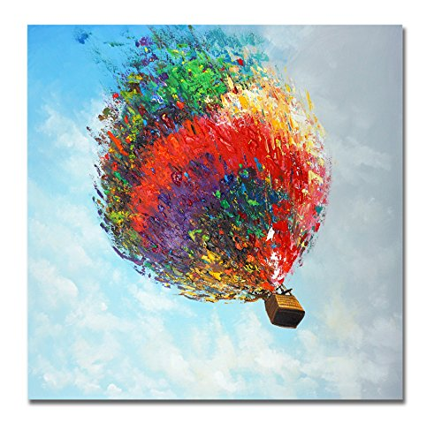 JAPO ART - 100% Hand Painted Oil Painting Modern Contemporary Art Hot Air Balloon Stretched Frame Home Décor Gift Father's Day 32x32 inch