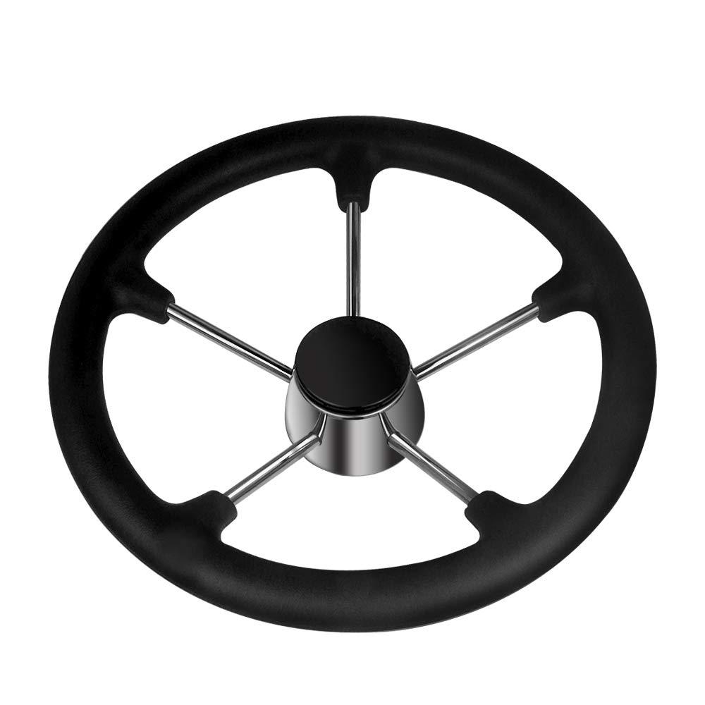 Grip Stainless Steel 13-1//2 Inch Steering Wheel 5 Spokes,Destroyer Style Hoffen Black PU Foam Steering Wheel