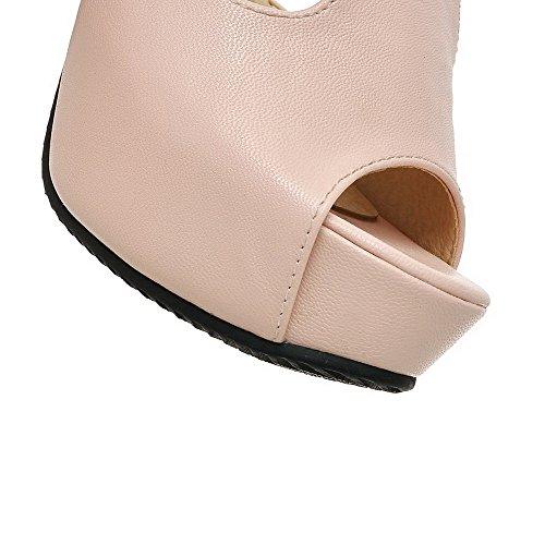 Toe Pink Women's Peep Sandals Solid WeenFashion Buckle High Heels 8xSfnRxwYq