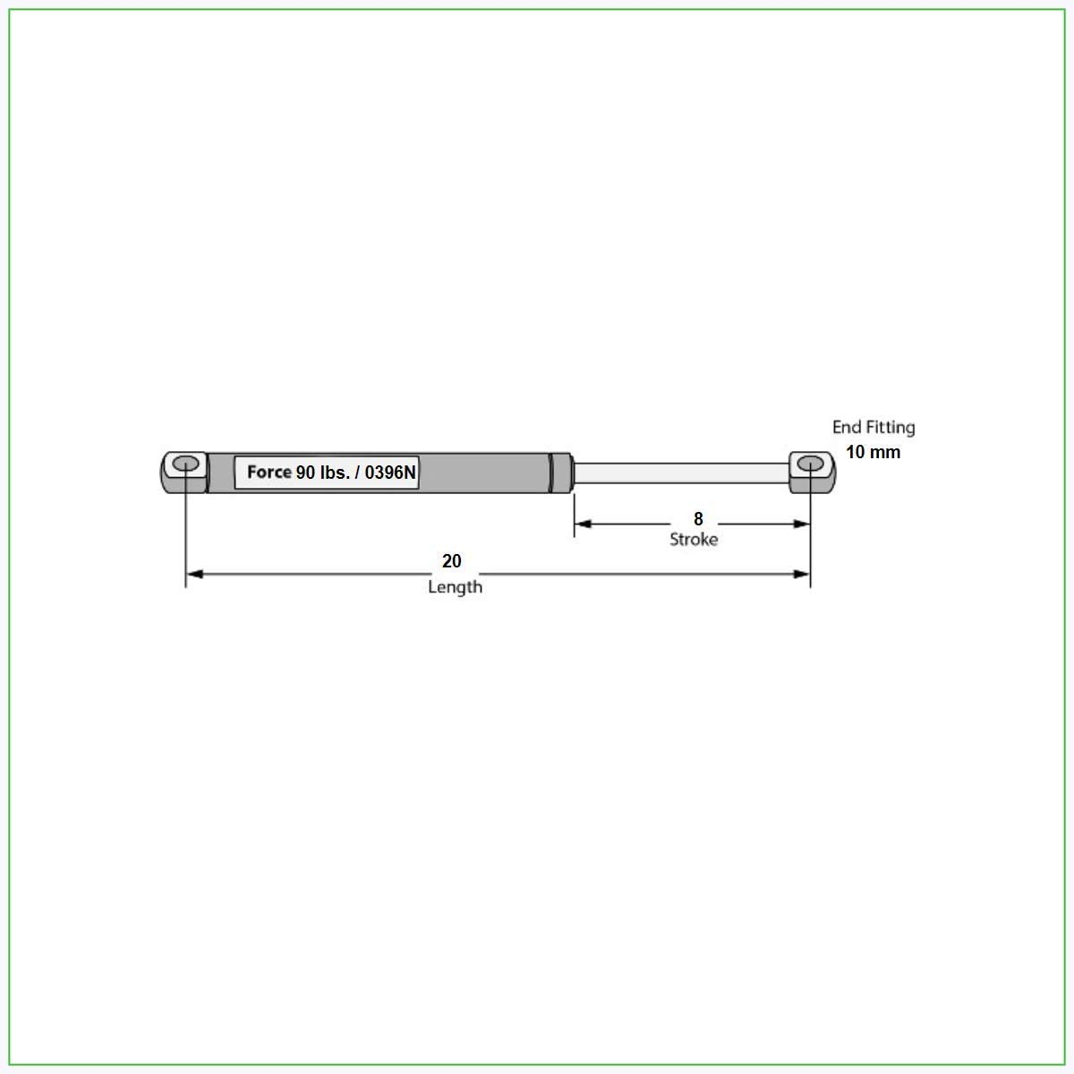 20 Length x 90 lb Force with 10 mm Ends. Hatchlift Gas Springs 508mm x 0396N