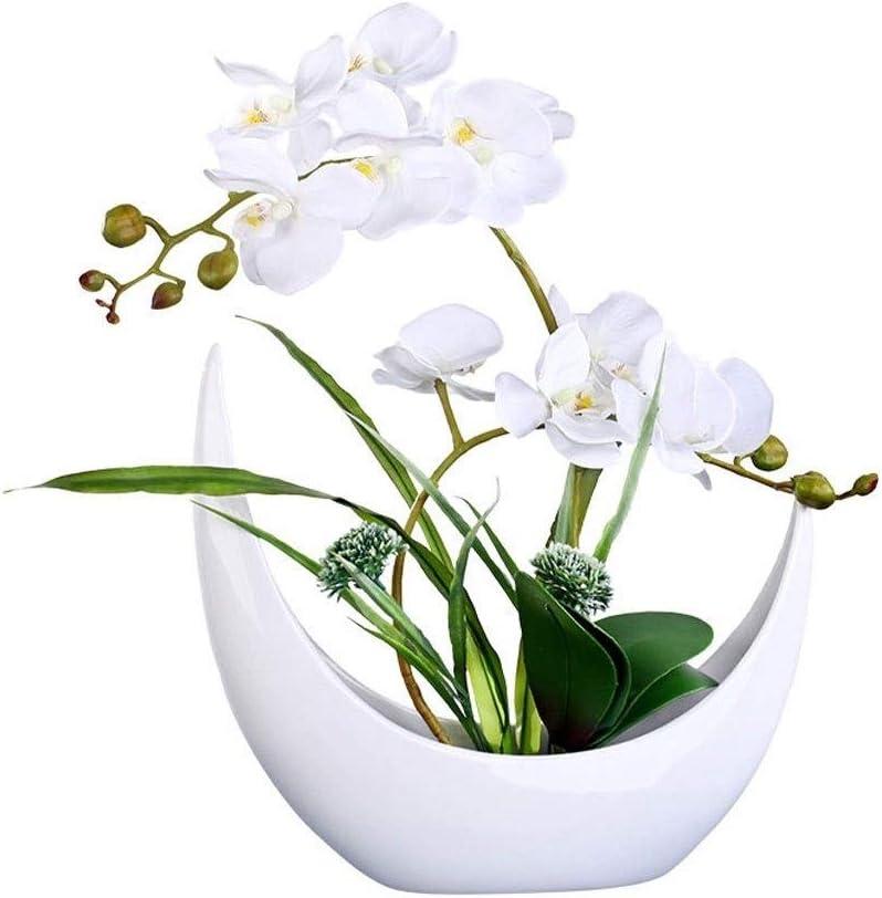 Bonsai de Flores Artificiales Simulación del Phalaenopsis con el florero Conjunto, Decoración flor artificial artificial Tiesto Home Hotel Flor de seda falso, cerámica Tiesto artificial Decoración Bon