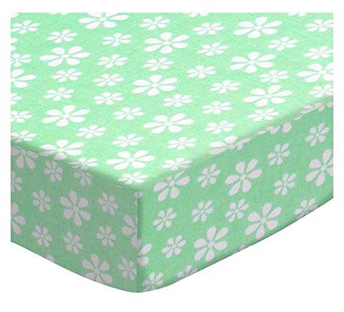 SheetWorld Crib Sheet Set - Pastel Green Floral Woven - M...
