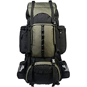 AmazonBasics Internal Frame Hiking Backpack with Rainfly, 75 L, Green