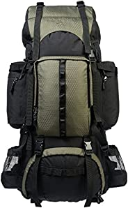 AmazonBasics Internal Frame Hiking Camping Rucksack Backpack with Rainfly - 18 x 8 x 37 Inches, 75 Liters, Gre