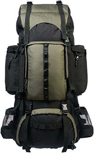 - AmazonBasics Internal Frame Hiking Backpack with Rainfly, 75 L, Green