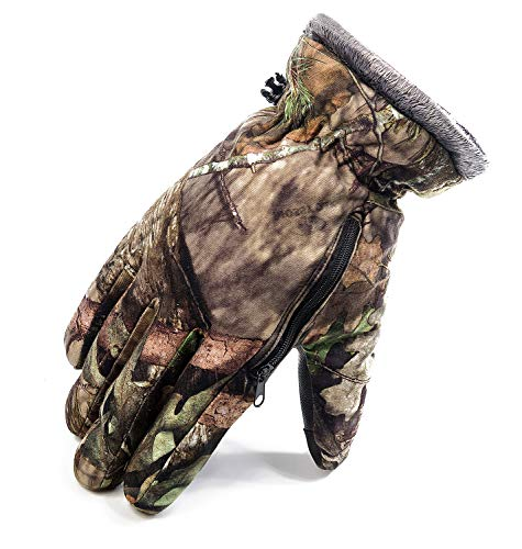 Camo Ski Gloves Waterproof Snow Snowboard Gloves with Zipper ()
