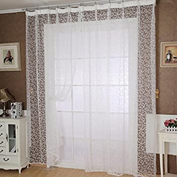Superieur DZT1968® 1PC Printed Flower Lace Tulle Sheer Window Treatments Door Screen  Curtain (80 Inch