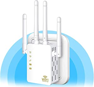 WiFi Repeater - WiFi Booster,Signal Extender, Coverage Up to 2500 sq.ft,1200 Mbps 2.4 & 5GHz Wireless Internet Amplifier - Covers 20 Devices with 4 External Advanced Antennas.