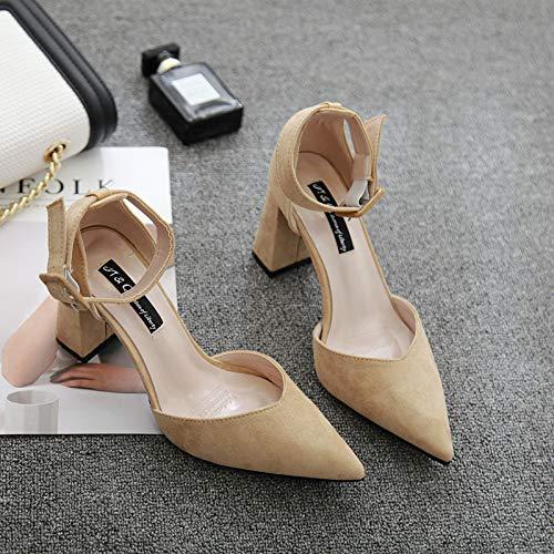 HRCxue Pumps Einknopf-Schnalle Spitze High Heels weiblichen weiblichen weiblichen flachen Mund dick mit einzelnen Schuhen hohlen Baotou Damenschuhe, 35, Khaki 23f6c3