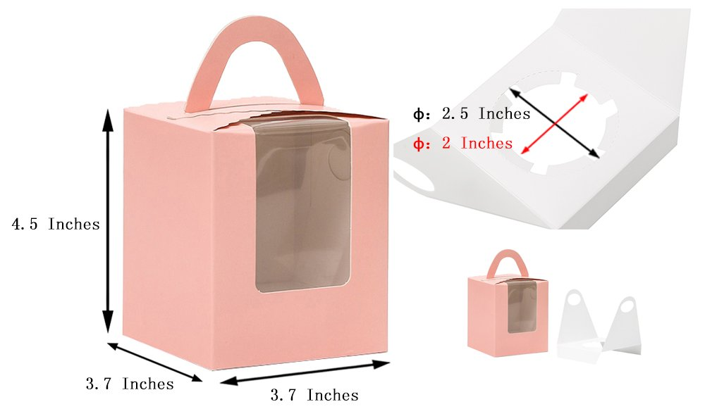 YoTruth Pink Single Tall Cupcake Boxes with Window 12 Pcs