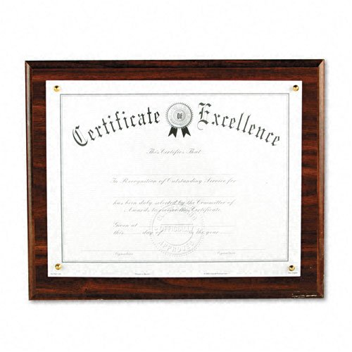 DAX : Award Plaque, Wood/Acrylic Frame, fits up to 8-1/2 x 11, Walnut -:- Sold as 2 Packs of - 1 - / - Total of 2 Each
