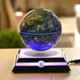 """Magnetic Levitating Floating Globe with LED Light, Rotating World Map and Constellation in 6"""" Anti Gravity Globe (Navy Blue)"""
