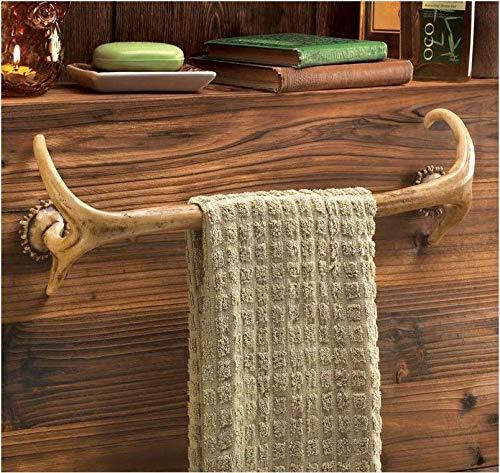 Deer antler Hunting Lodge cabin rustic decor Bathroom bath towel bar rack hook ()