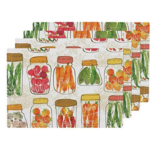 Orange Pickled Pickles - Kitchen Vegetables In Jars 4pc Eco Canvas Cloth Placemat Set - Kitchen Food Cooking Kitchen Home Decor Vegetables Pickles Canning Harvest Thanksgiving Orange by Ohn Mar Win (Set of 4) 13 x 19in