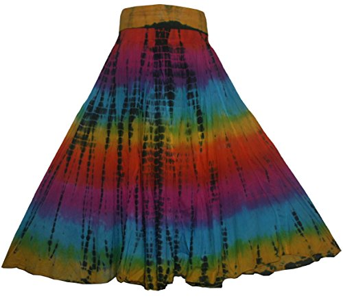 (Agan Traders 61 SK Cotton Tie Dye Gypsy Summer Skirt (2X, Rainbow 1))