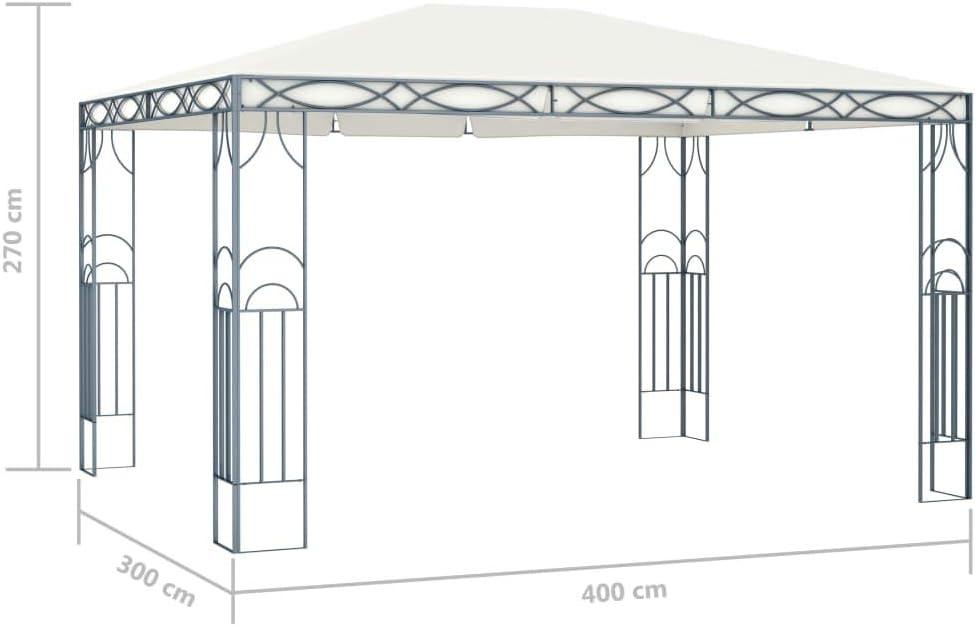 Festnight Gazebo da Giardino in Acciaio Pergola da Giardino Tenda da Giardino con Poliestere Telo 3 x 3 m Crema