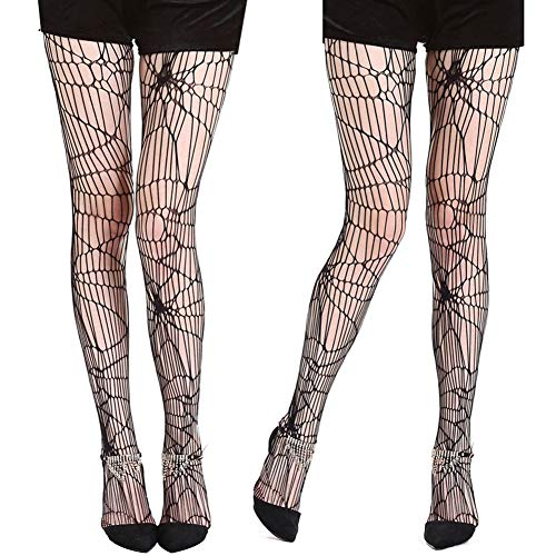 Lightclub Sexy Women Halloween Distressed Net Spider Web Tights Stockings Footed Pantyhose - Black One Size