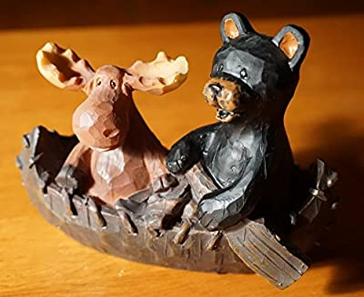 Moose & Black Bear In Wood Carved Canoe Country Lodge Cabin Figurine Decor