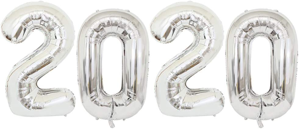 Silver NUOBESTY 32 Inch 2020 Foil Number Balloon for 2020 New Year Eve Festival Party Supplies Graduation Decor