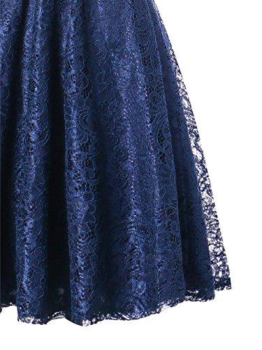 Spalla Una Da Sera M Vintage Slim Donna Pizzo scuro AUSERO Abiti Blu Vestito AH8YwXOAxq