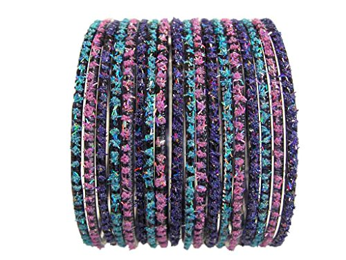 Indian Fashion Glass Bangles Tribal BoHo Costume Jewelry Bracelet 2.12 XL (Indian Dance Costumes And Accessories)