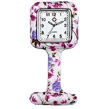 Lancardo Nurses Fashion Coloured Patterned Silicon Rubber Fob Watches - Colourful Bubbles (White)