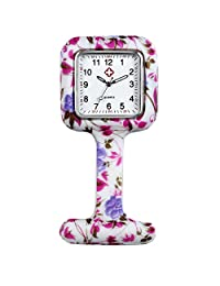 Lancardo Nurses Fashion Coloured Patterned Silicon Rubber Fob Watches - Colourful Bubbles (White)