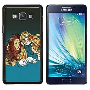 TECHCASE---Cubierta de la caja de protección para la piel dura ** Samsung Galaxy A7 ( A7000 ) ** --Lion & Muchacha rubia
