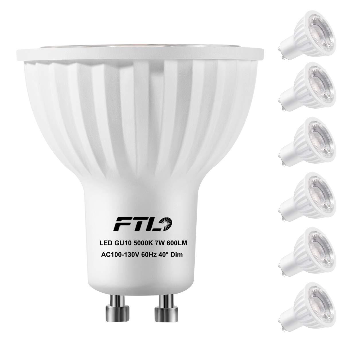 GU10 LED Light Bulbs, Dimmable 7 Watt Spotlight, Daylight White 5000K,50W 75W Halogen Bulbs Equivalent,CRI>80+,Track Lighting and Recessed Lighting Bulbs,6-Pack