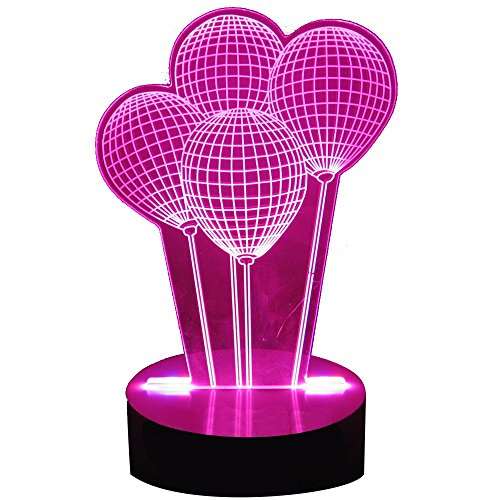 Happo Baby Night Light for Boys or Girls Creative Optical Illusion 3D Balloon Red Color