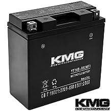 KMG YT14B-BS Battery For Yamaha 1100 XVS1100 V-Star (All) 1999-2010 Sealed Maintenace Free 12V Battery High Performance SMF OEM Replacement Powersport Motorcycle ATV Snowmobile Watercraft