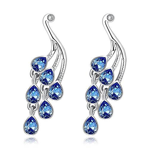 BODYA Platinum Plated sparkle Peacock Tear Drop long Dangle Earrings Aquamarine Austrian Crystal