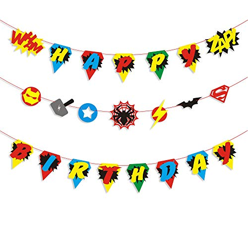 BeYumi Hero Inspired Birthday Banner, Colorful Bunting Party Decorations for Boys and Kids Birthday Party ()