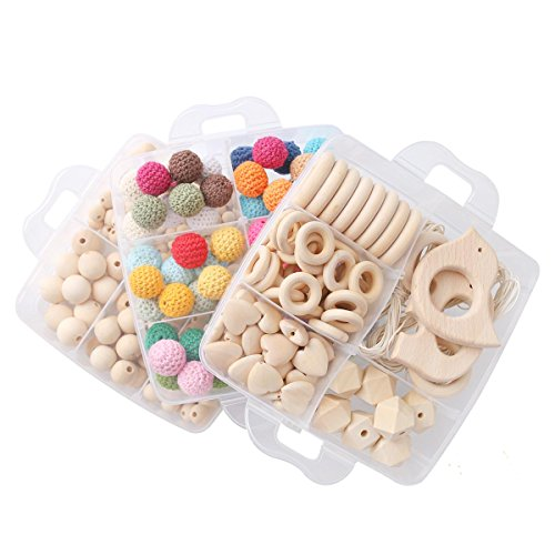 HAO JIE 3 Layers Crochet Wooden with Beads Baby Rings Crods Beech Wood Animals Nursing Teether DIY Montessori Toys Natural and Safe Baby Gift with Case