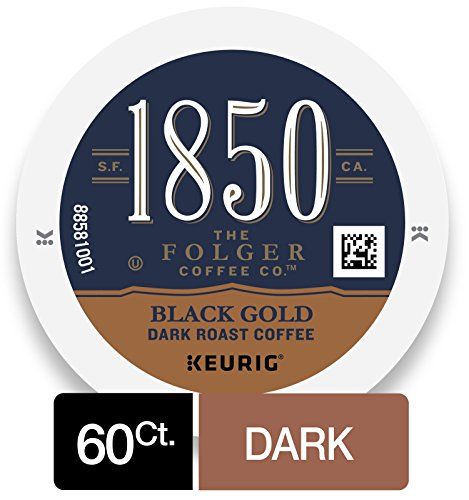 Roasting Cocoa Beans - 1850 Black Gold, Dark Roast Coffee, K-Cup Pods for Keurig Brewers, 10 Count (Pack of 6)