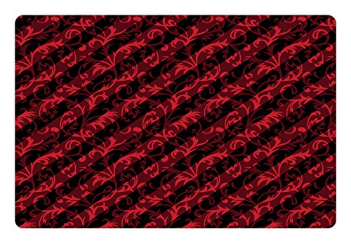 Lunarable Abstract Pet Mat for Food and Water, Swirled Curved Leaves Background with Parallel Classical Striped Lines Retro Print, Rectangle Non-Slip Rubber Mat for Dogs and Cats, Black Red