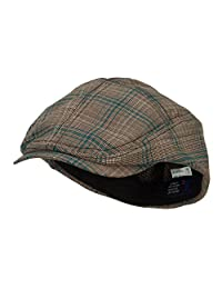 MG Men's Plaid Ivy Newsboy Cap Hat (Blue, Medium)