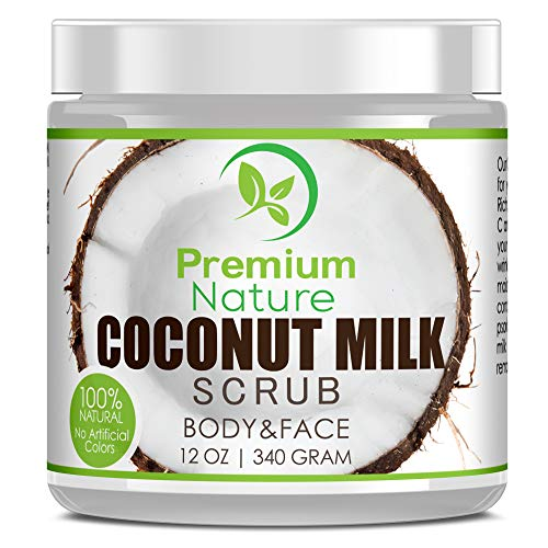 Coconut Milk Exfoliating Body Scrub - Natural Coconut Oil Skin Exfoliator for Face Hand Lip & Body with Sea Salt & Shea Butter, Acne & Eczema Treatment, Stretch Mark Scar & Cellulite Remover (Best Natural Face Scrub)