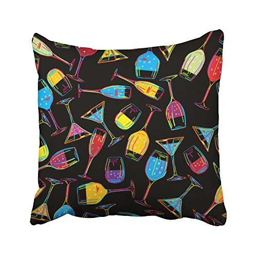 Emvency Decorative Throw Pillow Covers Cases Orange Birthday Pattern Various Drinks Cocktails Design Celebration Holidays Purple Club 16x16 inches Pillowcases Case Cover Cushion Two Sided ()