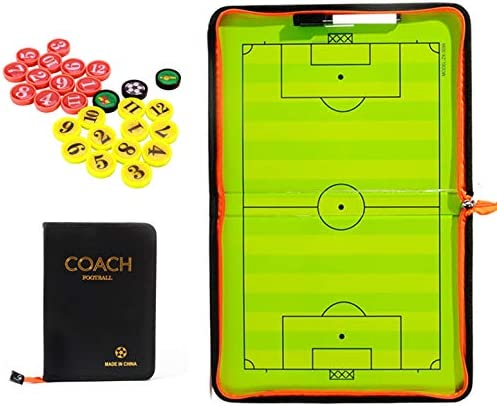 CHSEEA Fußball Taktikmappe Taktiktafel Fussball Coach-Board Coach Mappe für Professional Fußball Trainer mit Magnete, Stifte, Radiergummi #2